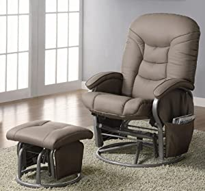 Deluxe Swivel Glider and Ottoman in Beige Leatherette