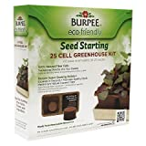 Burpee Garden Products 25 Cell Eco-Friendly Greenhouse Indoor Seed Starting Kit with Trays and Planting Medium