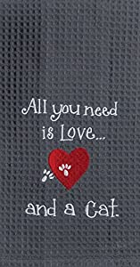 Kay Dee Designs F0783 Cat Love Embroidered Waffle Towel