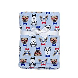 Baby Gear Plush Velboa Ultra Soft Baby Boys Blanket 30 x 40, Blue Preppy Puppy