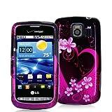 Purple Love Design Crystal Hard Skin Case Cover for LG Vortex VS660 Phone N ....