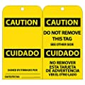 "NMC RPT97 ""CAUTION"" Bilingual Accident Prevention Tag, Unrippable Vinyl, 3"" Length, 6"" Height, Black on Yellow (Pack of 25)"