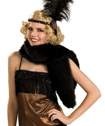 Womens Black Fur Halloween Stole
