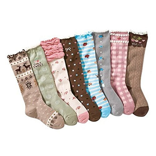 Girl's Princess Cute Cotton Knee High Socks 8 Pairs 7-12 Years