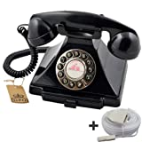 1929S Retro Vintage Push Button Telephone GPO Carrington Black, ProTelX, Plus BT 10m Telephone Extension Cableby ProTelX