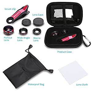 Coocheer Fisheye 198 Degree Clip 15x Macro Lens 0.63x Wide Angle Camera Lens 3 in 1 Kit for Smartphones Cameras Laptops Ipads - Red