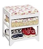 ts-ideen - Panchina / scarpiera con cestino in vimini, colore: Bianco