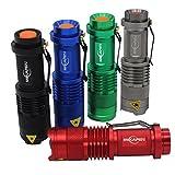 (Pack of 5)Mikafen Mini Cree Q5 Led Flashlight Torch 350 Lumens 3-speed (Light - Low Light - Strobe)adjustable Focus Zoomable Light