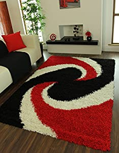 Helsinki Soft Thick Red, Black & Ivory Contemporary Shaggy Rugs 1852 - 4 Sizes Available by The Rug House