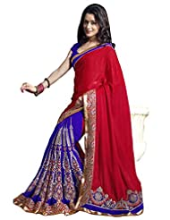 Indian Ethnic Saree Sari Bollywood Designer Embroidered Blue, Red By Triveni