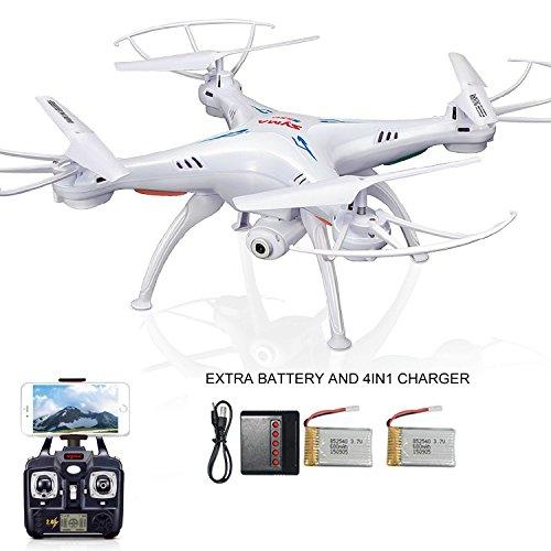 Syma X5SW FPV Exploradores 2 2.4Ghz 4CH 6-Axis Gyro RC sin cabeza Quadcopter Drone OVNI con cámara de 2MP HD Wifi, 2* baterías adicionales y 4in1 cargador (blanco)