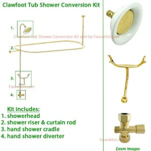 Polished Brass Clawfoot Tub Shower Conversion Kit With Enclosure Curtain Rod
