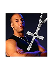 Glitz Fashion Silver Cross Pendant Long Necklace - Fast And Furious