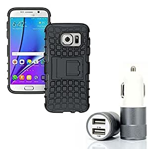 Droit Shock Proof Protective Bumper back case with Flip Kick Stand for Samsung S7 EDGE + Car Charger With 2 Fast Charging USB Ports by Droit Store.