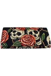 US Handmade Fashion Skulls Rose Tattoo Bi-Fold Women's Wallet, WW 1006-2