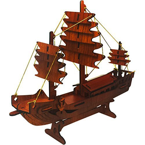 Boat 3D Puzzle - Rosewood Color - Rosewood Puzzles Inc. - Fun Mind-Challenging 3D Puzzle!
