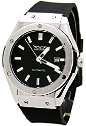 E-future Jaragar Luxury Automatic Mechanical Black Rubber Strap Men Sport Watch with Date