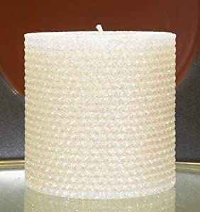 Deluxe 90 Hour-4 Inch Natural Beeswax Hybrid Pillar Glitter Candle, White Lotus Color