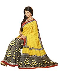 Abida Printed Saree (Yellow)