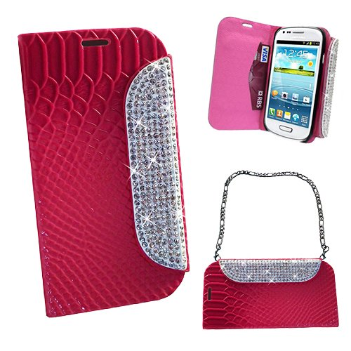 Xtra-Funky Exclusive Faux Leather Crocodile / Snake Print Flip Handbag Purse Wallet Style Case With Embedded Crystals On The Magnetic Closing Catch For Samsung Galaxy S5 (I9600) - Hot Pink
