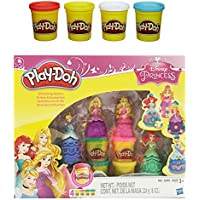 Play Doh Disney Princess Glittering Gowns + Play Doh 4 Pack Of Colors 20oz Bundle Of 2 Items