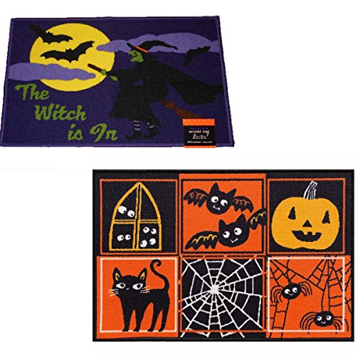 2 Pack Halloween Decor Printed Accent Rugs 20 x 30 Witch and Symbols