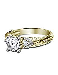 14K Yellow Gold Over 925 Silver Disney Aurora Princess Engagement Ring Free Sizing For Women's