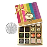 Chocholik Belgium Chocolates - Assorted White And Dark Truffle And Chocolate Gift Box With 5gm Pure Silver Coin...