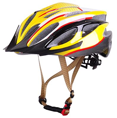 Cycling BMX Mountain Bicycle Bike Adjustable Helmet for boys girls men women Size M54-59cm,Yellow by HaoJiGuang