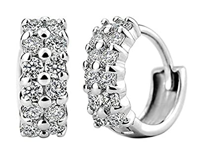 Womens 925 Sterling Silver Hoop Earrings With Full Diamond Fashion Jewelry Free Gift Box