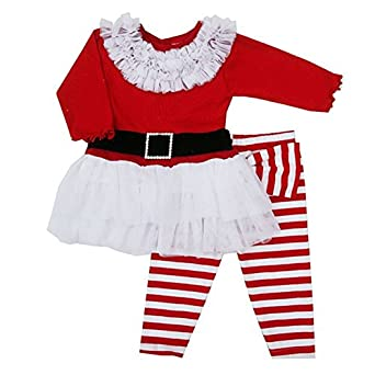 Xmas Santa Claus Toddlers Kids Baby Boys Girls Belt Lace Two-pieces Outfits Set