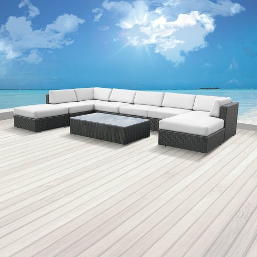 Luxxella Outdoor Patio Wicker MALLINA Sofa Sectional Furniture 9pc All Weather Couch Set OFFWHITE