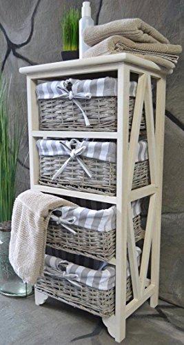 korbregal kommode korbkommode regal k rbe badre kommode anrichte 4 k rbe wei 4 f cher braun. Black Bedroom Furniture Sets. Home Design Ideas