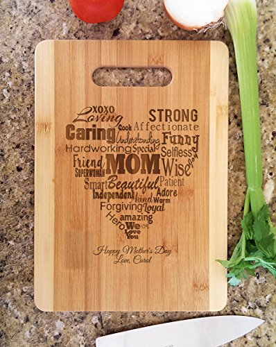 Mothers Gift Heart Love Mom ( Bamboo Personalized, Medium 9.5x13 ) Serving Cutting Board for Mothers Day Birthday or Christmas (Personalized For Mom compare prices)