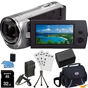 Sony HDR-CX220/S HDRCX220S CX220 HDR-CX220 S High Definition Handycam Camcorder with 2.7-Inch LCD (Silver)Ultimate Bundle with 32GB SD Card, High Capacity Spare Battery, Rapid AC/DC Charger, Deluxe Carrying Case, Table Tripod, LCD Screen Protectors + More