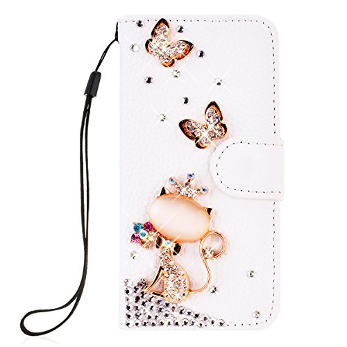 SMARTLEGEND PU Pelle Cover per Huawei Y6 / Y6 Scale,Interno Rigida Leather Wallet Stand Case per Porta Carte di Credito, Disegno di Cristallo Bling Strass Diamond Protettiva Portafoglio Custodia Bianco Caso con Cordoncino - Corona Gatto
