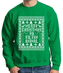 Xmas Merry Christmas Ya Filthy Animal Ugly Sweater Crewneck Sweatshirt