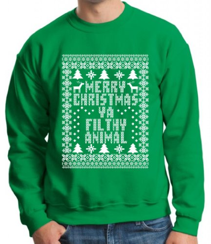 Merry Christmas Ya Filthy Animal Crewneck Sweatshirt XL Green