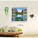 ウォールステッカー 山 川 河 空 窓 景色 鉢植え 花 壁紙シール ウォールシール