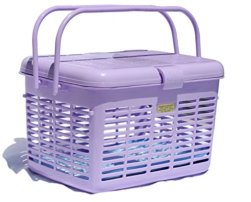 1 Safe Stylish Pet Cat Carriers Easy Open Wide Top Load Door Fully Assembled Easily Place and See Cats Dogs Rabbit Small Animals inside 16×11.63×10.25 Free Soft Fur Mat Purple (Lavender)
