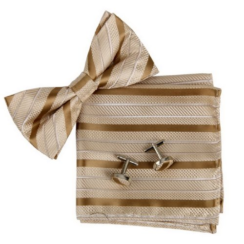 BT2097 Beige Striped Silk Pre-tied Bowtie Cufflinks Hanky Excellent Family Holy Saturday Presents Set By Epoint