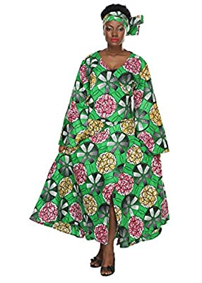 African Planet Women's Paisley Bell Sleeves Wrap Around Dress African Print