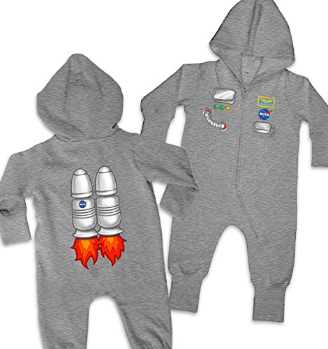 [Astronaut Costume Baby Onesie - Washed Grey 6-12 Months] (Spaceman Suit Costume)
