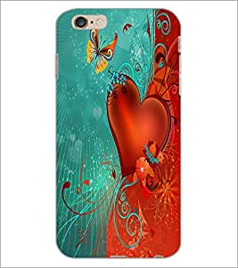 PrintDhaba Butterfly and Heart D-2304 Back Case Cover for APPLE IPHONE 6 (Multi-Coloured)