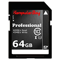 Komputerbay 64GB SDXC Secure Digital Extended Capacity Speed Class 10 UHS-I Ultra High Speed Flash Memory Card 45MB/s Write 60MB/s Read 64 GB