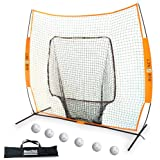 BowNet Big Mouth Portable Soft Toss Practice Net Screen Bundled with 6 Balls by BN-JTS