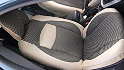 See Volvo C30 S40 V40 S60 C70 S70 V70 S80 Xc60 Xc70 Xc90 Mix Tan Leatherette and Two Tone Synthetic Fishnet Custom Fit Two Front Car Seat Covers (Xc60 2008-2014, TAN (Beige) / Black TAN Insert) Details
