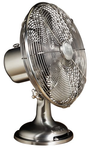 Hunter 90021 12-Inch Oscillating Table Fan, Brushed Nickel