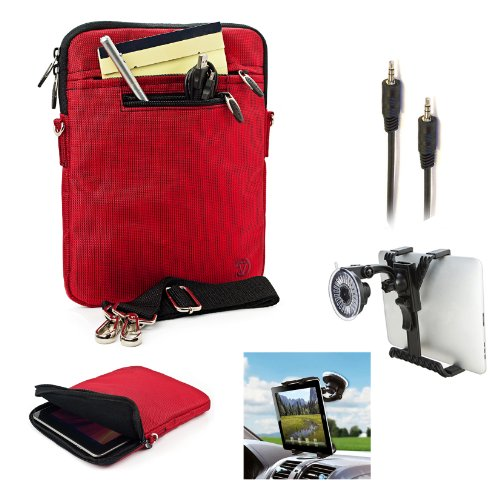 Hydei Nylon Jacket Compact Carrying Sleeve Case (Red) For Toshiba Excite 10 & Toshiba Excite 10 Le + Auxiliary Cable+ Windshield Mount