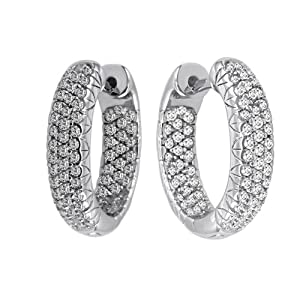 10k White Gold Inside-Out Pave Diamond Hoop Earrings (3/4 cttw, H-I Color, I2-I3 Clarity)